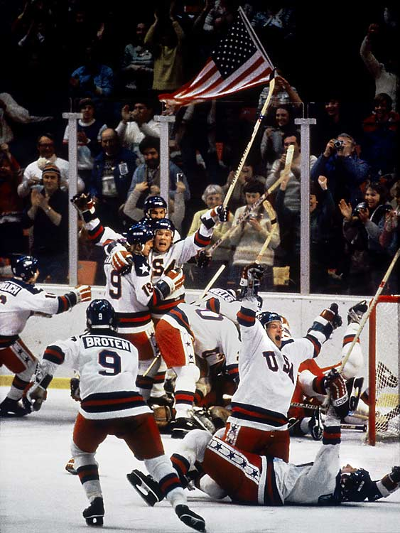 "In arguably the greatest moment in U.S. sports history, a gritty, talented team coached by Herb Brooks and made up mostly of college players upset a Soviet powerhouse that had dominated world hockey and whipped them 10-3 in an exhibition a week before the Games. But the clutch goaltending of Jim Craig and a monumental go-ahead goal by Mike Eruzione enabled the U.S. to win 4-3, inspiring broadcaster Al Michaels to utter his famous ""Do you believe in miracles?"" The next day, the U.S. rallied to beat Finland for the gold."