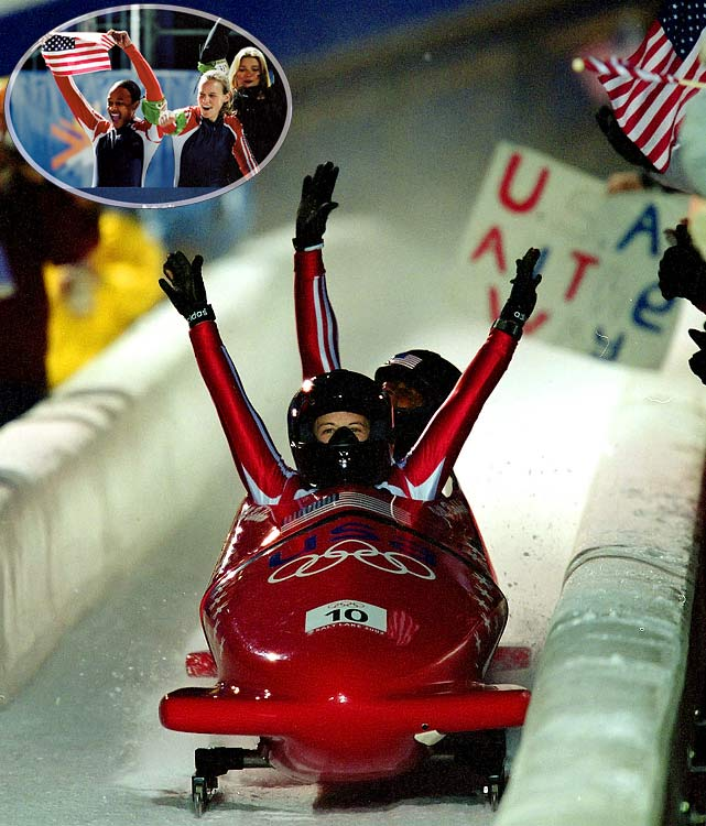 America's 46 years without an Olympic bobsledding medal ended when this unlikely pair roared out of obscurity to win the inaugural women's event. Bakken was still in the National Guard. Flowers was a seven-time track All-American who had answered a want-ad from the U.S. Bobsled Federation. Their victory made Flowers the first African-American to win Winter Olympic gold, and the U.S. Team bestowed upon her the honor of flag-bearer at the Closing Ceremony.