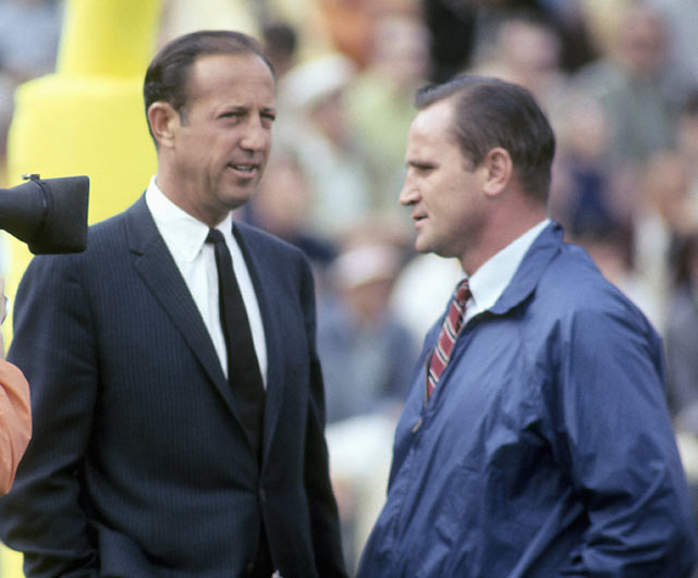 NFL commisioner Pete Rozelle chats with Colts coach Don Shula before the game.