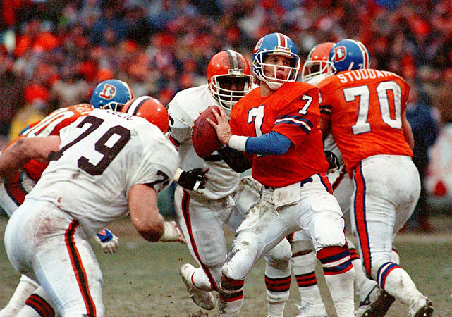 "Denver quarterback John Elway engineers ""The Drive."" Trailing Cleveland by seven points with 5:32 remaining in the AFC championship game, Elway marches the Broncos 98 yards on 15 plays to force overtime, then moves Denver 60 yards on nine plays on their first possession of overtime to set up Rich Karlis' game-winning 33-yard field goal in the Broncos' 23-20 victory."