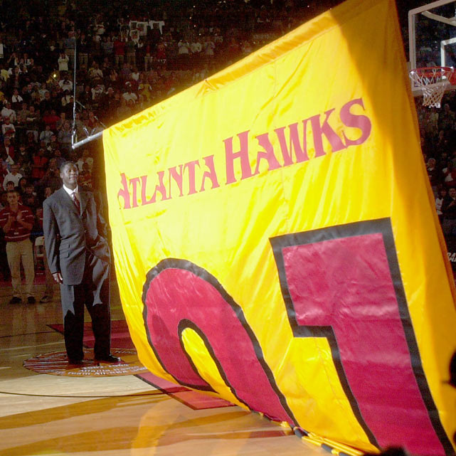 The Atlanta Hawks retire Dominique Wilkins' No. 21 in ceremonies before a cheering, packed house at Philips Arena. Wilkins joined Bob Pettit and Lou Hudson as the only Hawks to have their numbers retired.