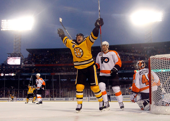 "Marco Sturm scored the walk-off goal at 1:57 into overtime. ""The experience is once-in-a-lifetime,"" he said. ""Bruins, Flyers, 40,000 fans on a perfect day, you couldn't ask for anything better for the game of hockey."""