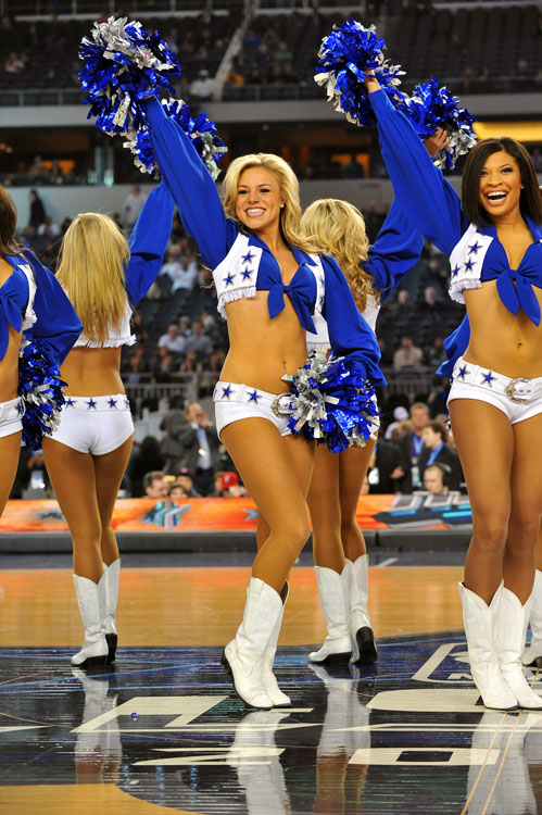 They made an early appearance at the dunk contest Saturday, but the Dallas Cowboys' cheerleaders weren't about to miss the big game. And men everywhere were thrilled.