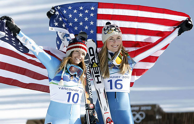 Vonn with teammate Mancuso, silver medalist behind Vonn and the winner of the giant slalom in Turin.