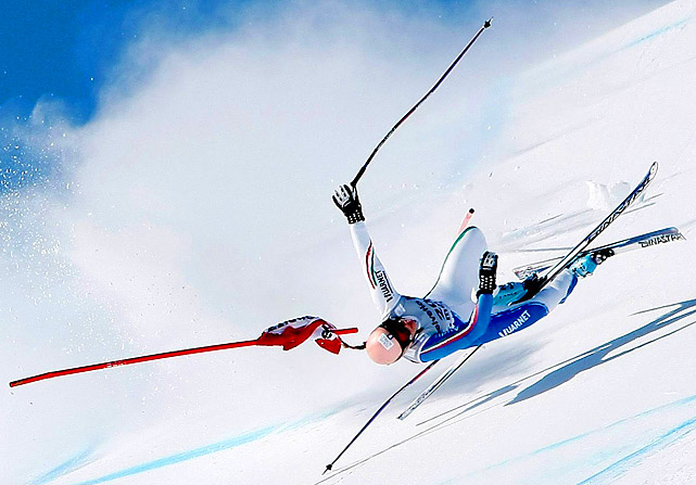 Nadia Fanchini of Italy crashes during the Audi FIS Alpine Ski World Cup Super G on Jan. 31 in St. Moritz, Switzerland.