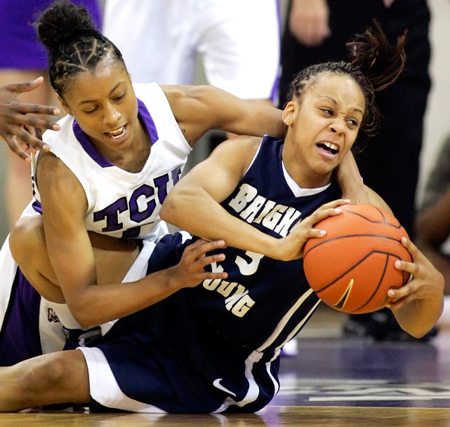 BYU guard Jazmine Foreman and TCU guard Antoinette Thompson battle for a loose ball during the Horned Frogs 64-40 victory over the Cougars at Daniel-Meyer Coliseum in Fort Worth, Texas, on Feb. 3.