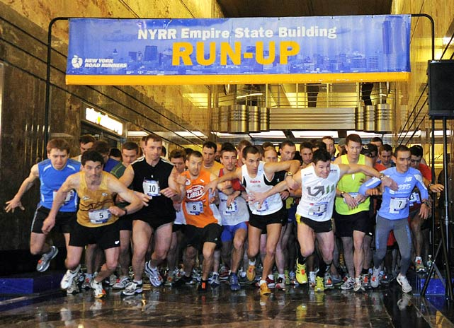 Thomas Dold, of Stuttgart, Germany, (No. 1) won the Empire State Building run for the 5th consecutive time with a time of 10:16 on Feb. 2.