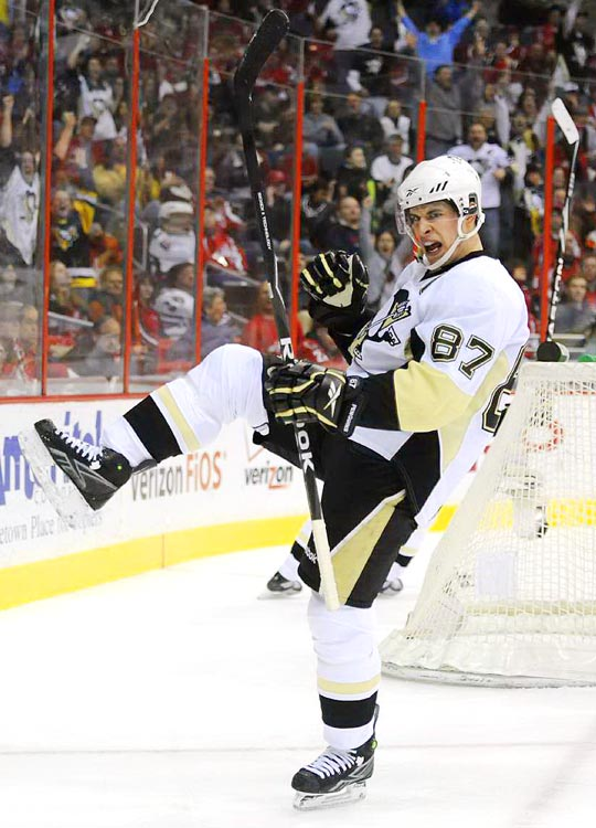 Pittsburgh's Sydney Crosby celebrates after scoring against the Washington Capitals at the Verizon Center on Feb. 7 Crosby had two goals but the Capitals defeated the Penguins 5-4 in overtime.