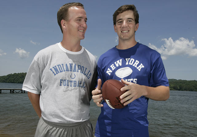 Peyton and Eli clown around during a Direct TV commercial shoot.