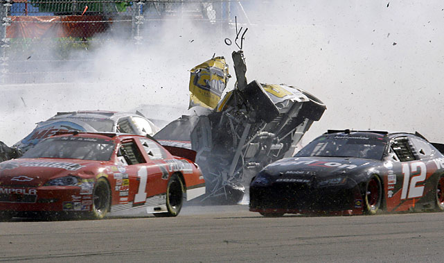 Dale Earnhardt Jr.'s car went airborne late in the race and slid on its roof before getting hit again and landing back on its tires.