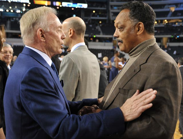 Jesse Jackson was there and even got a fist-bump from Carmelo Anthony. And, of course, Jerry Jones was there, happily playing host to 108,000  fans in his brand-spankin new stadium.