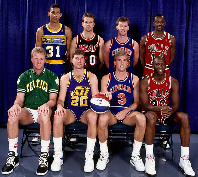 Reggie Miller, Jon Sundvold, Mark Price, Craig Hodges, Larry Bird, Bobby Hansen, Craig Ehlo and Michael Jordan pose prior to the three-point contest. Hodges would go on to win his second of three titles.