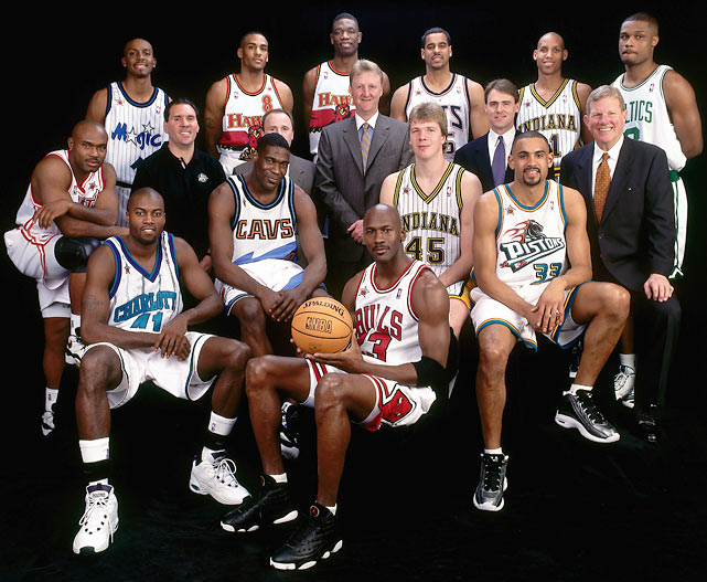Anfernee Hardaway, Steve Smith, Dikembe Mutombo, Jason Williams, Reggie Miller, Antoine Walker, Tim Hardaway, Larry Bird (flanked by his assistant coaches), Glen Rice, Shawn Kemp, Michael Jordan, Rik Smits and Grant Hill at the 1998 All-Star festivities in New York.