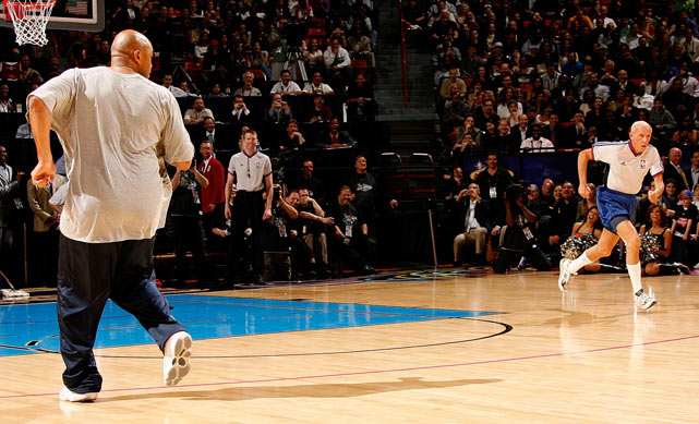NBA referee Dick Bavetta competes against Charles Barkley in a race during All-Star Saturday Night in Las Vegas. Bavetta was no match for Barkley.