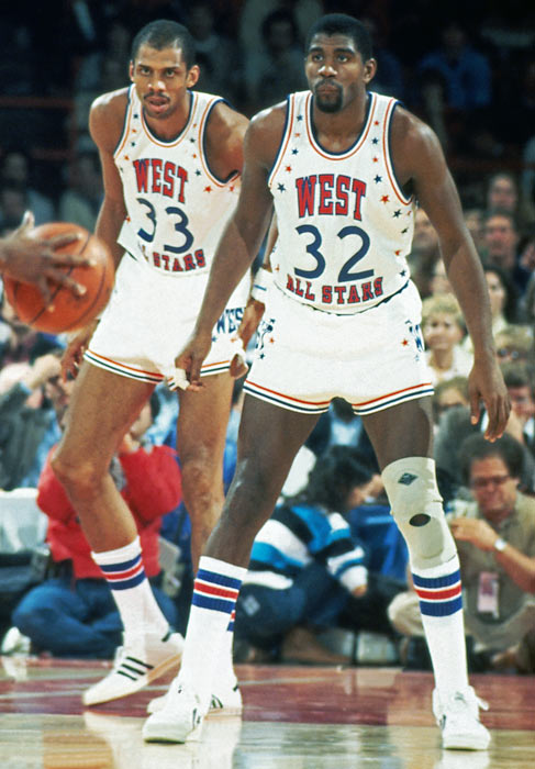 Abdul-Jabbar and Magic were teammates at the 1983 NBA All-Star Game in Los Angeles.
