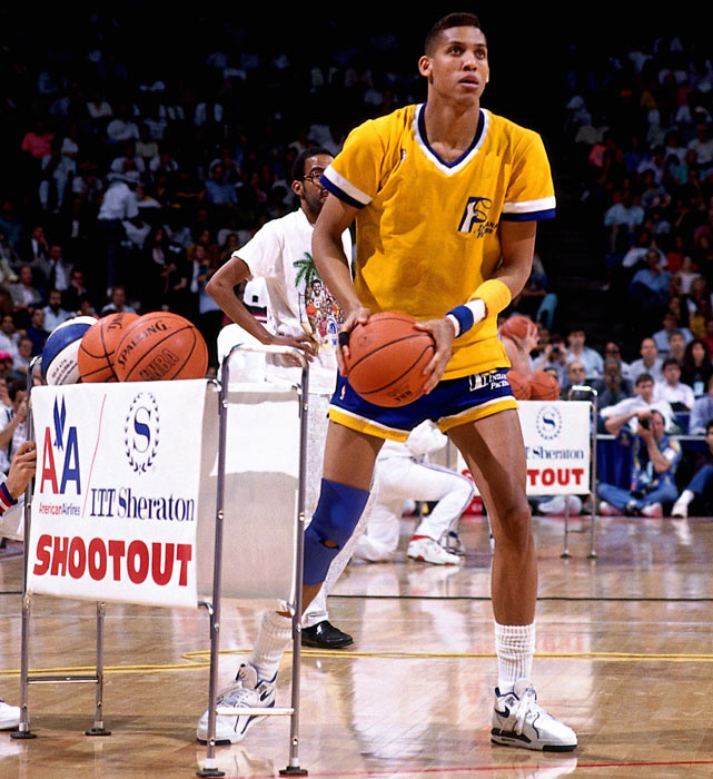 Miller sets up to shoot during the 1990 three-point contest in Miami.
