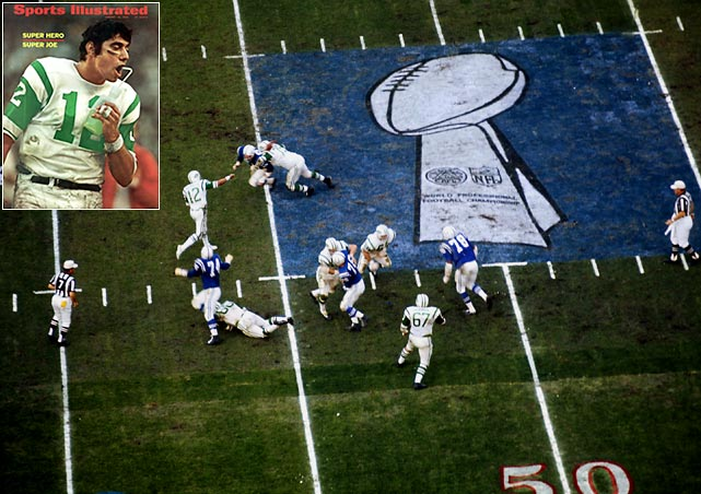 Time has distanced fans from the reality of just how monumental the Jets' 16-7 upset was in the first officially-named Super Bowl. Brash Jets quarterback Broadway Joe Namath famously guaranteed victory over the 13-1 Colts, who had allowed the fewest points in an NFL season. He delivered in workmanlike fashion by relying on his ground game, eight receptions for 133 yards by receiver George Sauer, three field goals by Jim Turner, and an opportunistic defense that picked off Colts QBs Earl Morrall and John Unitas four times.