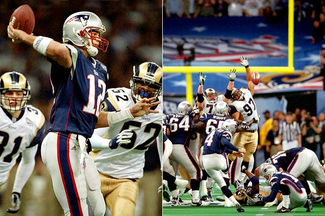 Kurt Warner and the favored Rams outgained Tom Brady and the Patriots 427 total yards to 267, but had to rally to tie the game at 17 with 1:30 left in the fourth quarter. Brady, who had taken over for Drew Bledsoe as the Patriots' starting QB earlier in the season, began building his legend as a clutch performer by driving his team to the Rams' 30 without the benefit of timeouts. Brady spiked the ball with seven seconds to go and Adam Vinatieri booted a 48-yard field goal. It was the first Super Bowl to be won on the final play.