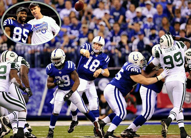 The vaunted Jets defense was no match for Peyton Manning and the Colts as Indianapolis cruised to a 30-17 victory and a date in Miami for the Super Bowl. Manning threw for 377 yards and three touchdowns and Pierre Garcon had a career game, catching 11 balls for 151 yards and a touchdown.<br><br>Send comments to siwriters@simail.com