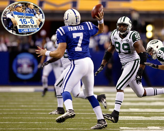 With homefield advantage locked down, the Colts rested their starters in the second half and suffered their first loss of the season, a 29-15 defeat to the Jets. The decision to rest the starters raised controversy throughout the league as backup QB Curtis Painter was intercepted by Jets CB Dwight Lowery with 4:52 remaining, ending any hopes of the Colts mounting a comeback from a 29-15 deficit.