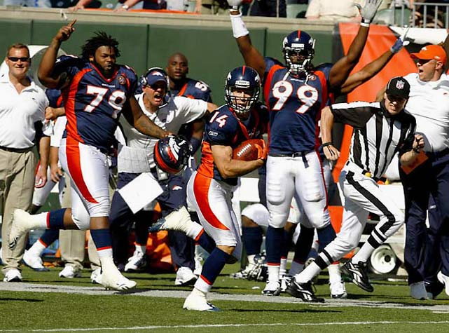 One of the zaniest plays of the season came in Week 1 when Denver's Brandon Stokley caught a deflected pass in the final minute and finished off the 87-yard touchdown by running parallel to the goal line for a couple of seconds to run time off the clock. The Immaculate Reception against Cincinnati gave rookie coach Josh McDaniels his first win. Denver started the season 6-0 but missed the playoffs with an 8-8 record.