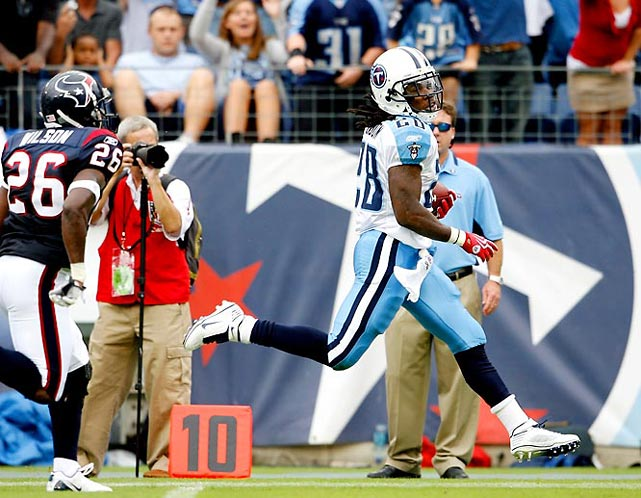 Chris Johnson, who refers to himself as Every Coach's Dream, became the sixth player in league history to rush for 2,000 yards in a season, finishing with an NFL record 2,509 total yards from scrimmage. Along the way to eclipsing the 2,429 yards compiled by Marshall Faulk in 1999, Johnson became the first player to score touchdowns of 50-plus, 60-plus and 91-plus in the same game when he had 57- and 91-yard scoring runs and a 69-yard TD reception in Week 2. His three touchdown runs of 85 yards or longer last season are more than any other player has in an entire career.