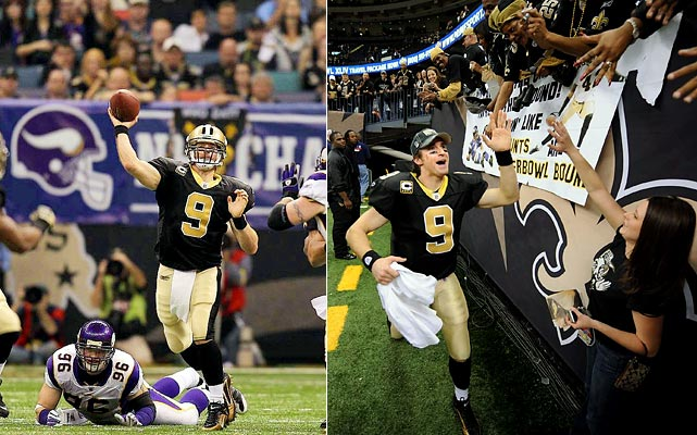 "Less than five years after the battered Superdome provided last-resort shelter to 30,000 New Orleans residents as Hurricane Katrina raged outside, Drew Brees and the high-powered Saints eked out a 31-28 NFC Championship game win in overtime inside the structure to give the city its first Super Bowl appearance.  ""It's a surreal moment,"" said Brees of winning the game in the repaired and deafeningly loud stadium.  ""You can draw so many parallels between our team and our city.  In reality, we had to lean on each other to survive and get to where we are now. The city is on its way to recovery, and in a lot of ways is better than ever."""