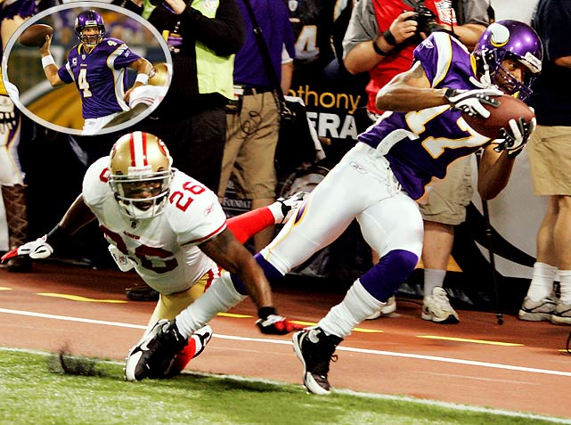"Anyone who questioned whether the Vikings made the right decision in signing Brett Favre out of retirement had to give a tip of the hat when he fired a 32-yard laser to Greg Lewis in the back of the end zone with two seconds left to defeat the San Francisco 49ers 27-24. The victory marked the 40th time Favre had mounted a game-winning drive in the fourth quarter or overtime. ""He's been in many, many, many, many situations like that,"" coach Brad Childress said, ""so it never hurts you to have a veteran like him going down the field."""