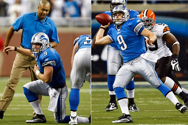 "Matthew Stafford didn't single-handedly keep the Lions from going 0-16 again, but give him credit for running back onto the field with a freshly injured shoulder and throwing the winning touchdown with no time left as Detroit beat Cleveland 38-37. ""Matt's best play of the day might have been eluding four team doctors to get back on the field,"" joked Detroit coach Jim Schwartz after Stafford's rookie-record fifth TD pass of the day."