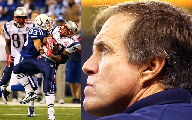 """In Patriots lore, it'll forever be known as The Call, the ultimate example of some Bill Belichick bravado that backfired. Leading the Colts by six points with 2:08 to go, Belichick decided to go for it on fourth-and-two from New England's 28. The Patriots came up short, the Colts scored to win 35-34 and the second-guessing began. """"I've been around Bill Belichick a long time and he's made a lot of great coaching decisions, but this was the worst coaching decision I have ever seen Bill Belichick make,'' said former Patriot Rodney Harrison."""