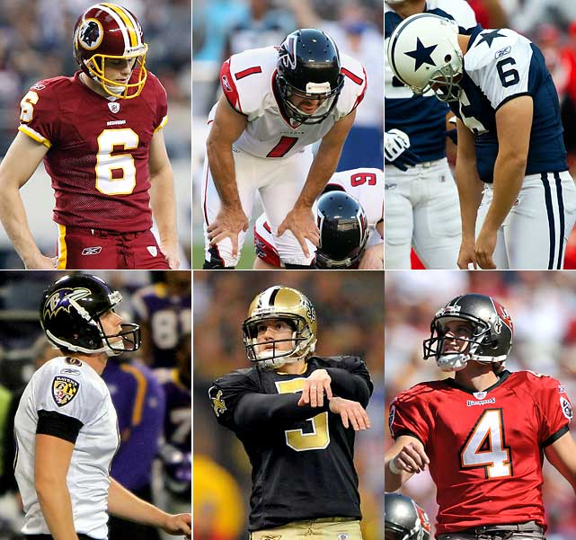 The 2009 season wasn't a good one for errant field goal kickers, just ask the likes of (from top left) Shaun Suisham, Jason Elam, Nick Folk, (from bottom left) Steve Hauschka, John Carney, Mike Nugent and Shane Andrus, each of whom got the boot after failing to live up to expectations.
