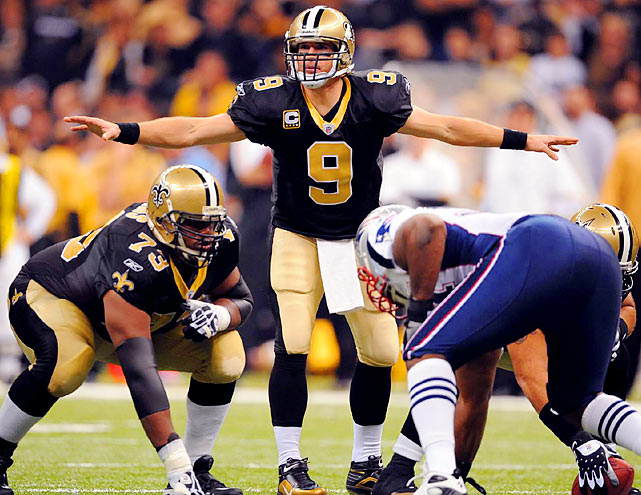 What was billed as a potential game of the season turned into a laugher as New Orleans piled the points on New England, defeating the Patriots 38-17. Drew Brees completed 18 of 23 passes for 371 yards and five touchdowns. The New Orleans defense recorded two sacks, forced a fumble and recorded two interceptions.