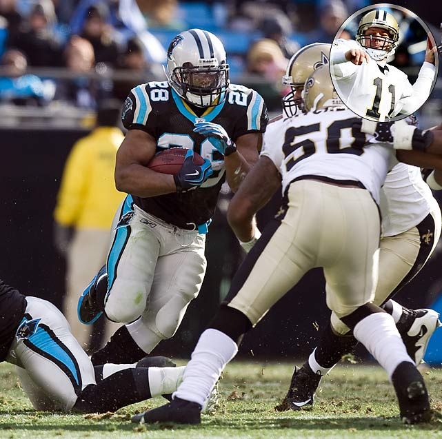 The Saints' late season swoon continued as the Panthers got 125 yards and a touchdown from Jonathan Stewart on their way to a 23-10 victory. Drew Brees sat out the game. His backup, Mark Brunell, was ineffective, throwing for just 102 yards and no touchdowns.