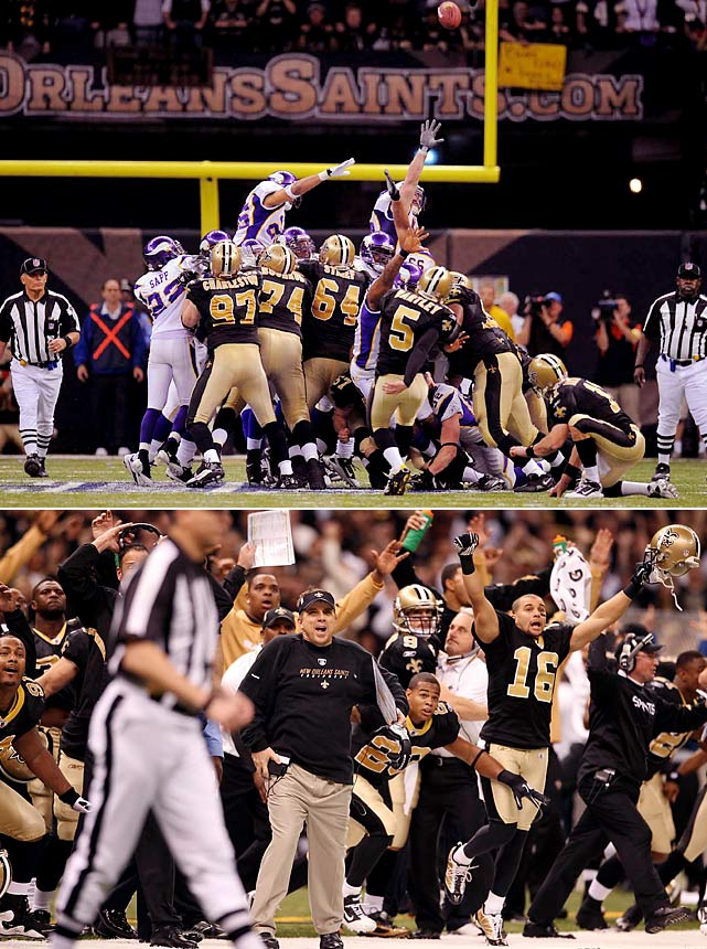 The Vikings were driving late in the fourth quarter of a tie game, but Brett Favre threw an interception with 12 seconds remaining. The Saints won the coin toss to start overtime and never looked back, winning on a 40-yard field goal by Garrett Hartley to earn their first Super Bowl berth.