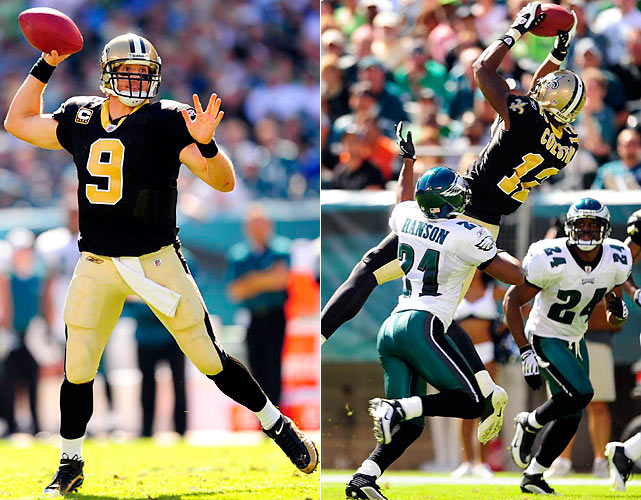 The high-powered Saints flew past the Eagles as Drew Brees threw another three TD passes, two to Marques Colston. Kevin Kolb, playing for the injured Donovan McNabb, threw for 391 yards, but was intercepted three times and sacked twice. Mike Bell picked up 86 rushing yards and a touchdown.