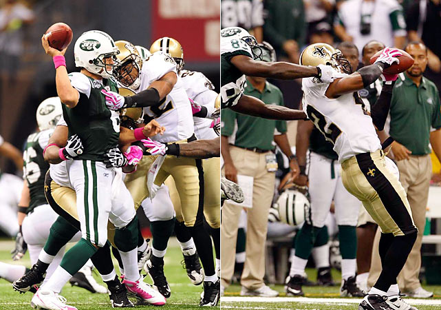 The defense led the way against an improved Jets squad as safety Darren Sharper picked off two Mark Sanchez passes, running one back for a 99-yard touchdown in the 24-10 victory. Drew Brees finished the day 20-of-32 with 190 yards and no touchdowns.
