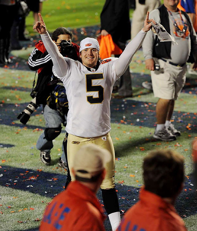Garrett Hartley's overtime field goal against Minnesota put the Saints in the Super Bowl and he followed that up with three field goals in the Super Bowl.