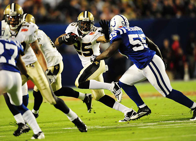 Reggie Bush touched the ball nine times on offense and added 63 yards to the Saints' cause.