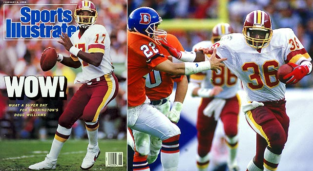 It was historic and historically bad. Doug Williams became the first African-American quarterback to start and to win the Super Bowl. He also put this one out of reach early while the Redskins scored a record 35 second-quarter points. The Broncos were so bad that a rookie named Timmy Smith, who was rarely seen before or since, rushed for 204 yards and the Redskins scored five touchdowns in a span of 18 plays. Not even advertisers were happy. TV ratings plummeted in the second half.