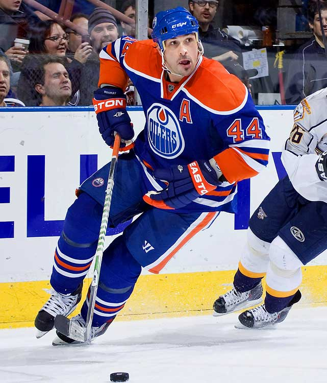 The Oilers reportedly were given a list of six teams -- the Kings, Ducks, Stars, Rangers, Capitals and Flyers -- for which the veteran defender will waive his no-trade clause. And while the broken hand he suffered in a fight last week did significant damage to his market value, he's expected to be ready for action in time for the playoffs. He's neither the defensive nor offensive threat he once was (hard to believe that he's yet to cash in even once with that booming shot on the power play this season), but he might provide a boost for a contender looking for depth at a discounted price.