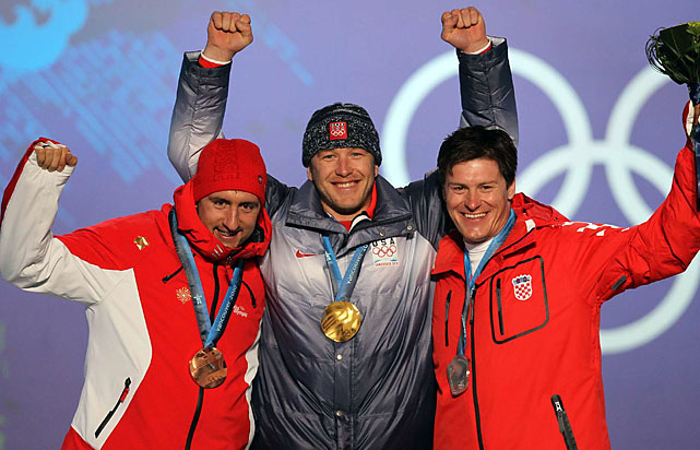 Gold medallist Bode Miller of the U.S. (center), silver medallist Ivica Kostelic of Croatia (right) and bronze medallist Silvan Zurbriggen of Switzerland.