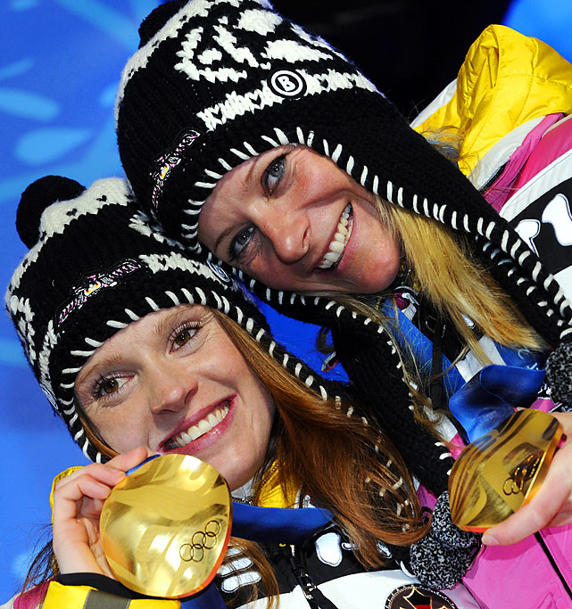 German gold medallists Evi Sachenbacher-Stehle and Claudia Nystad.