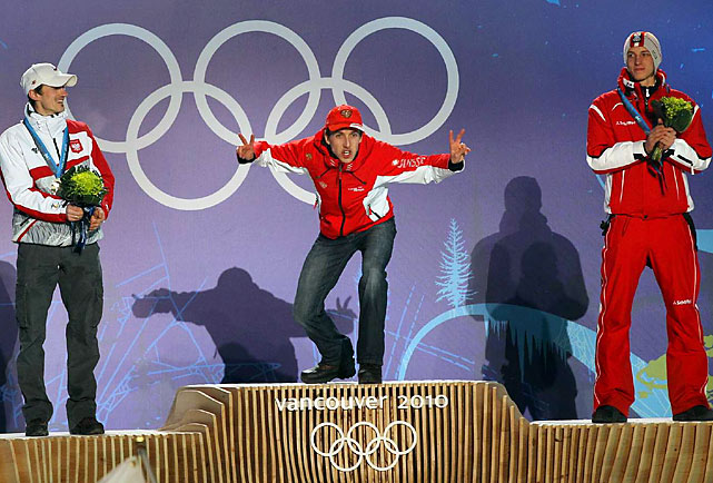 Switzerland's Simon Ammann (gold), Poland's Adam Malysz (silver) and Austria's Gregor Schlierenzauer.