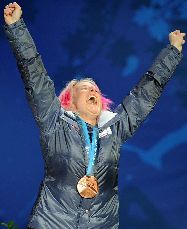 Bronze medal winner Shannon Bahrke of the U.S.
