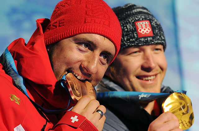 Switzerland's Silvan Zurbriggen (left) with the bronze and Bode Miller with the gold.