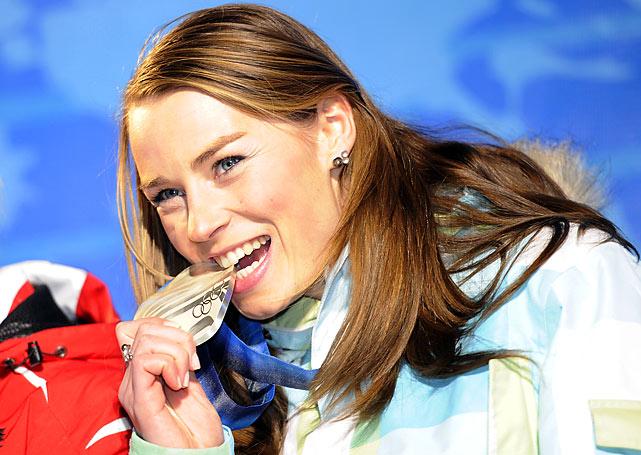 Slovenia's Tina Maze with her silver.