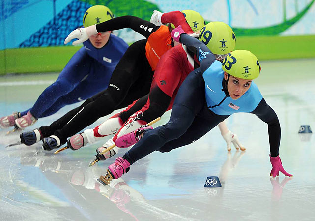The U.S. team of Allison Baver (front), Alyson Dudek, Lana Gehring and Katherine Reutter was last across the finish in the four-team 3,000-meter final, but got promoted to third when the apparent winners from South Korea were disqualified.