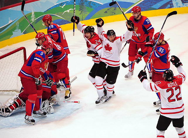 Canada picked apart Russia's defense for a 7-3 win that put the hosts in the semifinals of the men's tournament.
