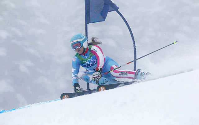 Defending giant slalom champion Julia Mancuso finished 18th after having to re-start her run following the crash of American teammate Lindsey