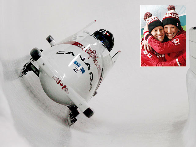 Canada also won its seventh gold medal of the Vancouver Games when Kaillie Humphries and Heather Moyse took first in the two-woman bobsled race.